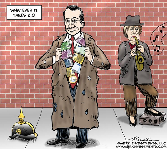 ECB-Draghi-Merkel-cartoon-by-Merk-Investment