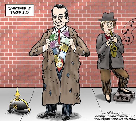 ECB-Draghi-Merkel-cartoon-by-Merk-Investment
